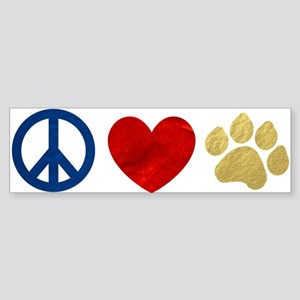 Peace Love Paw Print Sticker (Bumper)